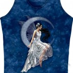 Mountain Life Maieu Dama Lady Butterfly & Moon on Blue