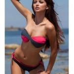 Raluca Martinescu Costum de baie negru cu roz, Raluca Martinescu