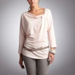 3 Suisses Collection Basics Tricou cu guler drapat si maneca fluture 3/4
