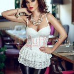Atmosphere Fashion Corset Atmosphere dantela alba cu peplum